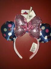 53a095cb270 NEW Disney Parks Minnie Mouse Navy Blue Polka Dot Ears Pink Sequin Bow  Headband
