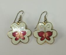 Vintage 1970's Red Butterfly on White & Gold Fish Hook Earrings for pierced ears