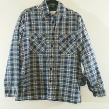 Vintage Lumber Jack Blue Plaid Flannel Outdoor Lined Shirt Jacket Mens Medium