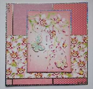 Handmade cherry blossom and butterflies blank greetings card
