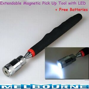 Extendable Telescopic Magnetic Pick Up Tool With LED Flash Light Long Portable