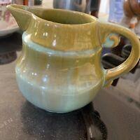 "Fulper Pottery Art Deco Green Turquoise Crystalline Pitcher 4 1/2"" #830"