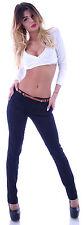Damen Chinos Chino Hose Reiterhose Stoffhose Röhrjenhose mit Gürtel Hüfthose B77