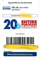20% OFF Your Entire purchase at Bed bath and beyond, Provide Email for Delivery