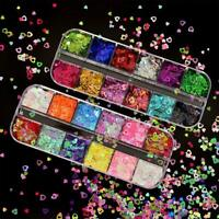 3D Love Heart Nail Art Sequins Nail Decoration Holographic Laser Glitter Flakes