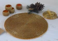 Set 4 Round Gold Glass Beaded Placemats Table Place Mats Coasters Napkin Rings