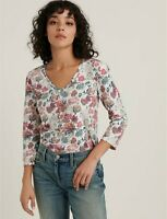 Lucky Brand NEW $50 Sz S Ivory Cotton Floral Print 3/4 Puff Sleeve V Neck Top