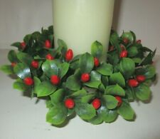 vtg plastic holly berry pillar candle ring fits 3