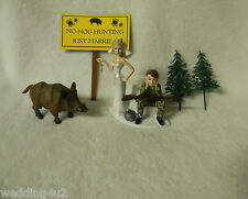 Wedding Wild Hog Boar Sign Camo Redneck Hunter Hunting Ball Chain Cake Topper