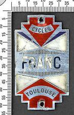 Plaque de vélo ancienne Cycles FRANC Toulouse. Aluminium