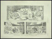 GRAVURE PUVIS DE CHAVANNES L'AMPHITHEATRE SORBONNE 1887