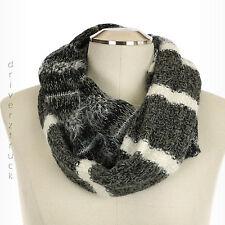 SIMPLY VERA WANG Winter INFINITY SCARF Black Grey Silver White STRIPES Loop Cowl
