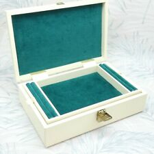 Vintage Tallent Of Old Bond Street Cream Velvet Lined Hinged Jewellery Box Retro