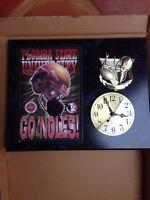 VINTAGE 12x15 Florida State Univ. Go 'Niles!Collectors Clock Plaque with Photo