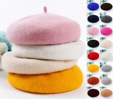 UK Wool Blend Beret Plain Ladies Womens Girls Fashion French Hat Autumn Winter