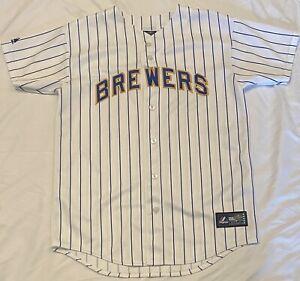 Majestic Milwaukee Brewers MLB Boys Youth White Baseball Jersey Size XL