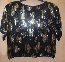 NEW J. L. B. Ladies 100% Silk Black/Gold/Silver Sequin Raglan Sleeve Top-Size L