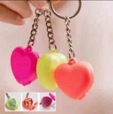 Tupperware Keychains Set of 3 Heart Lockets Neon Pink Yellow Orange Rare New