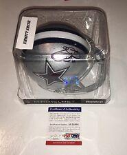 Emmitt Smith Cowboys HOF Auto Autographed Football Mini Helmet PSA Cert
