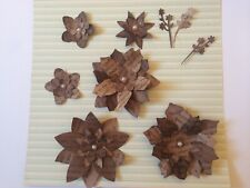 9x UNIQUE Handmade Paper Flowers & Sprigs For Cards,Mixed Media,Steampunk Themes