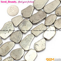 "Natural Stone Pyrite Gemstone Beads For Jewelry Making 15"" Flat Freeform"