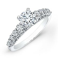 Fine 1.60 CT Real Round Cut Diamond Engagement Ring 14K White Gold Size M O P H