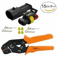 Terminal Ratchet Crimping Wire Crimper Plier Tool+2Pin Electrical Wire Connector