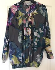 VGC Ted Baker Floral Blouse Size 3/M/12 Watercolour Purple Green Grey Designer