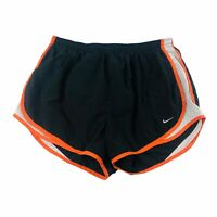 NIKE Fit Dry Womens Tempo Running Shorts Lined Black Orange Size Large