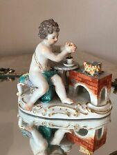 Antique Meissen Cherub Angel Putti Figurine Chocolate Maker Handpainted