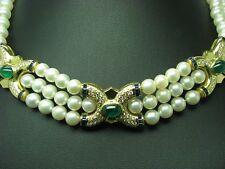 Perlas Akoya Collar con 1,64ct Brillante,0,96ct Zafiro & 4,20ct Esmeralda / 40cm