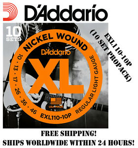 **10 SETS D'ADDARIO EXL110 ELECTRIC GUITAR STRINGS (NICKEL) EXL110-10P 10 PACK**