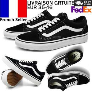 VAN Old Skool Chaussures De Skate Noir Toutes Les Taille Classique Baskets De