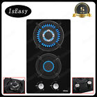 """12"""" 2 Burners Gas Cooktop Tempered Glass Panel Built-in LPG NG Hob Black Cooker photo"""