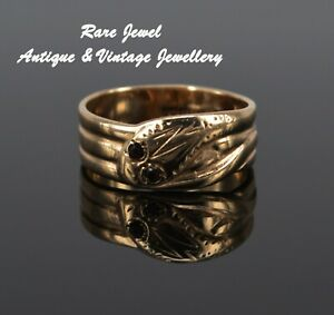 VINTAGE 9CT GOLD & GARNET LOVELY SNAKE RING STACKED COILED 5g