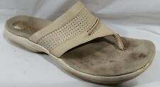 Sperry Womens 6 M Flip Flop Thong Sandals White Beige Leather Open Toe Summer