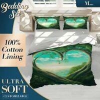 Fujiman Sea Nature Landscape Green Quilt Cover Set Single Double Queen King Size