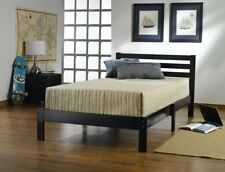 Black Wood Platform Bed Frame Headboard Bedroom Furniture Twin Size With Slats
