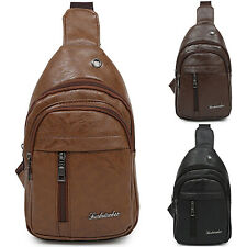 Mens Boys Leather Shoulder Chest Sling Bag Messenger Cross Body PU Leather Bags