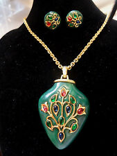 "CROWN TRIFARI Lucite ""Persian Garden"" Collection Necklace and Earrings Set"