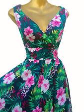 Vestiti da donna stile anni'50, rockabilly floreale multicolore