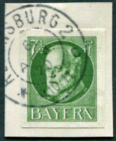 BAVARIA 1920 7 1/2pf green SG176B used NG IMPERF King Ludwig III on piece a3