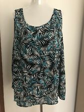 Plus Size 20 Black Green Blue Tropical Woven Layered Blouse