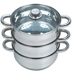 27CM 4PC STEAMER COOKER POT SET PAN COOK FOOD GLASS LIDS 3 TIER STAINLESS STEEL