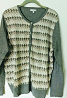 Croft & Barrow Cardigan Sweater Top Large HOUNDSTOOTH Gray Beige XL NWOT