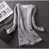 Women Girl Fleece Lined Fit Slim Shirt Blouse Thick Warm Stretch Top Winter HOT