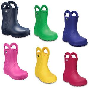 Crocs Handle It Kids Wellington Boots Boys Girls Waterproof Pull On Rain Shoes