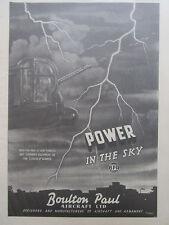 "12/1945 PUB BOULTON PAUL AIRCRAFT 5"" GUN TURRET LINCOLN BOMBER THUNDER ECLAIR AD"