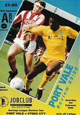 Football Programme>PORT VALE v STOKE CITY Feb 1990
