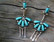 """Zuni or Navajo Silver Turquoise Fan Dangle Earrings 2-1/8"""" ~ Vintage"""